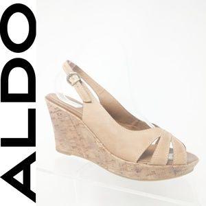 Aldo Women Sandals, Peep Toe Cork Wedge High Heel